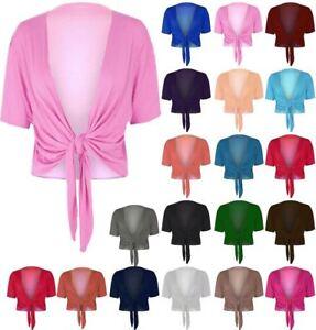 WOMENS PLAIN TIE FRONT BOLERO LADIES CAP SLEEVE SHRUG CROP TOP PLUS SIZE 8-22