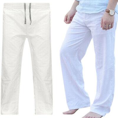 Long Slacks Linen Mens Drawstring Casual Yoga Loose Pants Beach Sport Trousers