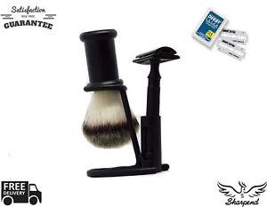 3-Piece-Full-Men-039-s-Shaving-amp-Grooming-Set-DE-Safety-amp-Pure-Black-Badger-Brush