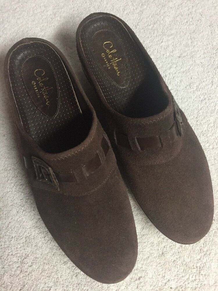 Cole Haan Women's Brown Suede Leather Slip On Casual Mules Shoes Size 8 B