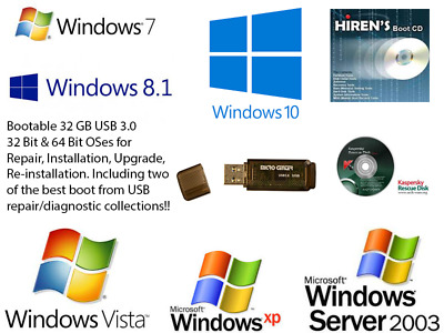 32GB USB 3 0 Drive Windows XP/2003/Vista/7/8 1/10 Installation Kaspersky  Hiren's | eBay