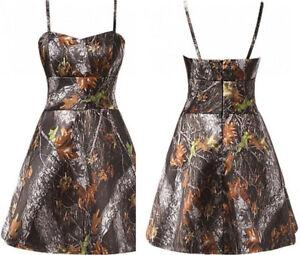 2018 Short Camo Wedding Dresses A-Line Spaghetti Straps Camouflage ...