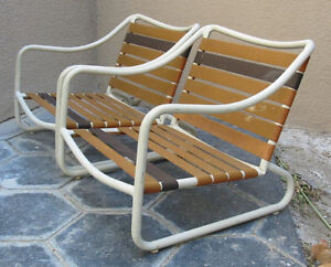 Vintage Brown Jordan Patio Chairs Low Lounge Sand Refinishing