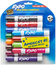 Expo Low Odor Dry Erase Markers Chisel Tip Assorted Colors 12 Count