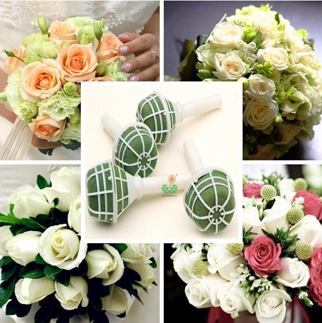 HOAU 1X Foam Bouquet Holder Handle Bridal Floral Wedding Flower DIY Decoration