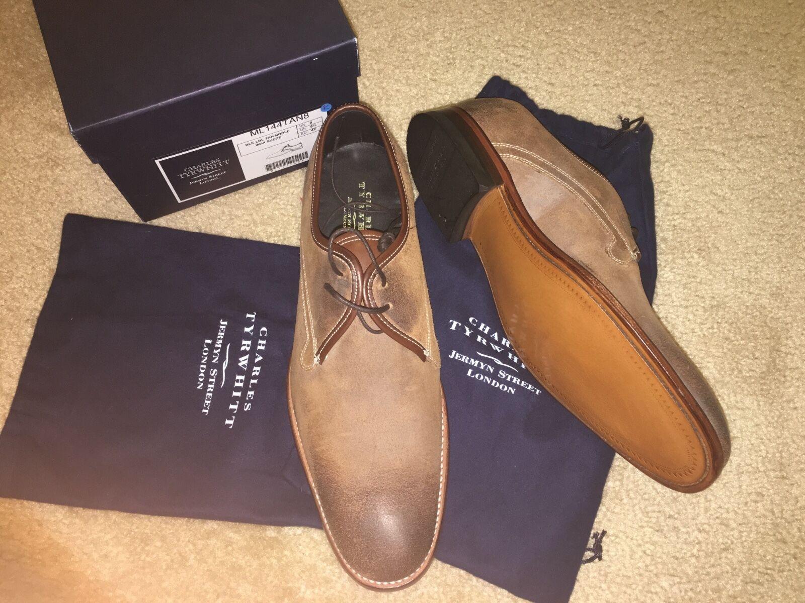 Nuevo Charles Tyrwhitt Goodyear Welted Inglaterra negro Label tan Noble Cera Zapatos 8.5