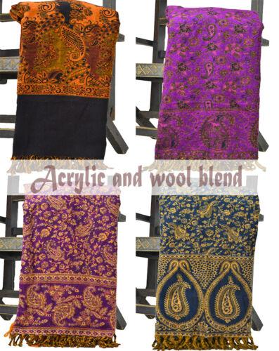 Paisley Flower Acrylic Tassels Wool Blend Pashmina Cashmere Scarf Shawl Wrap