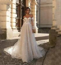 Off the shoulders long sleeves shiny wedding dress Bohemian rustic bridal gown
