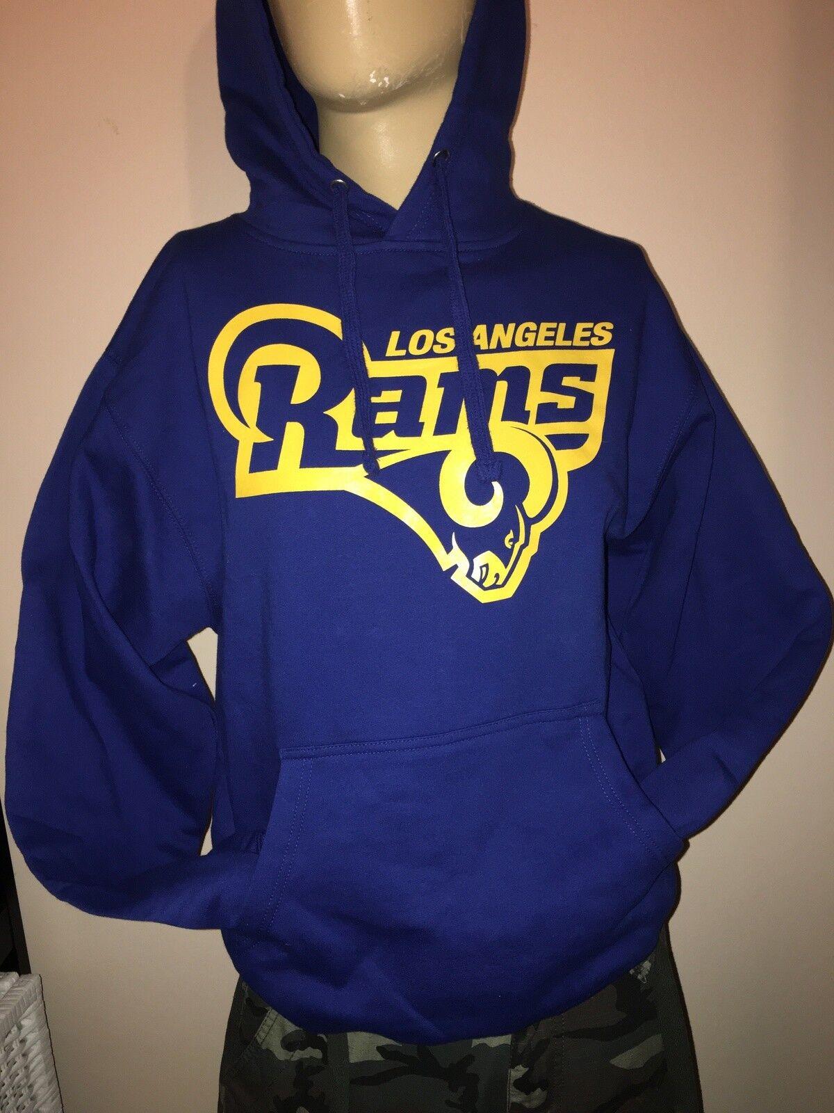 Men Los Angeles Rams Head Royal bluee Hoodie   Yellow RAMS LA 2019
