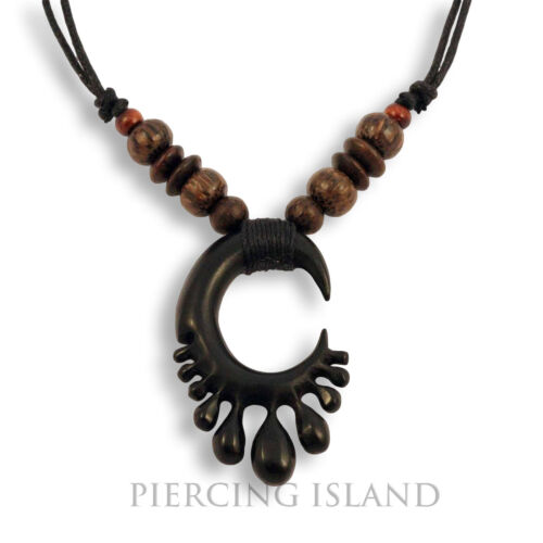 Halskette Anhänger Holz Amulett Organic Wood Necklace Tribal Design N224