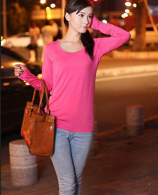 Hot Women Girls Long Sleeve 8 Colors Scoopneck Round Neck Casual Shirt Blouse