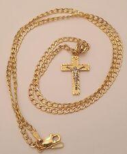 Jesus Crucifix Cross Pendant 14k White Yellow Gold Charm