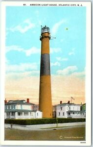 Atlantic-City-New-Jersey-Postcard-ABSECON-LIGHT-HOUSE-Street-View-c1930s-Unused