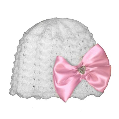 Hand knitted traditional baby bonnet hat 0-3 premature newborn romany bling bow