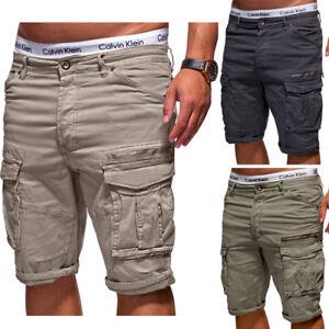 BEHYPE-Herren-Shorts-Jeans-Bermuda-Kurze-Cargo-Hose-Khaki-Dunkelgrau-Beige-NEU