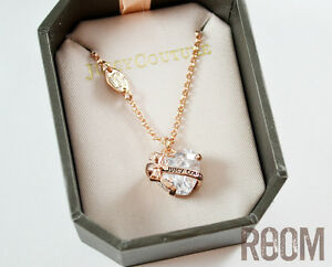 Juicy Couture Heart Banner Wish Necklace Rose gold color with box eBay