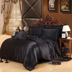 Details About 3pc Full Queen Oly Black Satin Silk Bedding Duvet Cover Set At Best Price