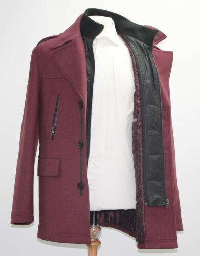 1466 Insert Black Sample Wine Men's m Zip Coloured Coat With IOIgYz