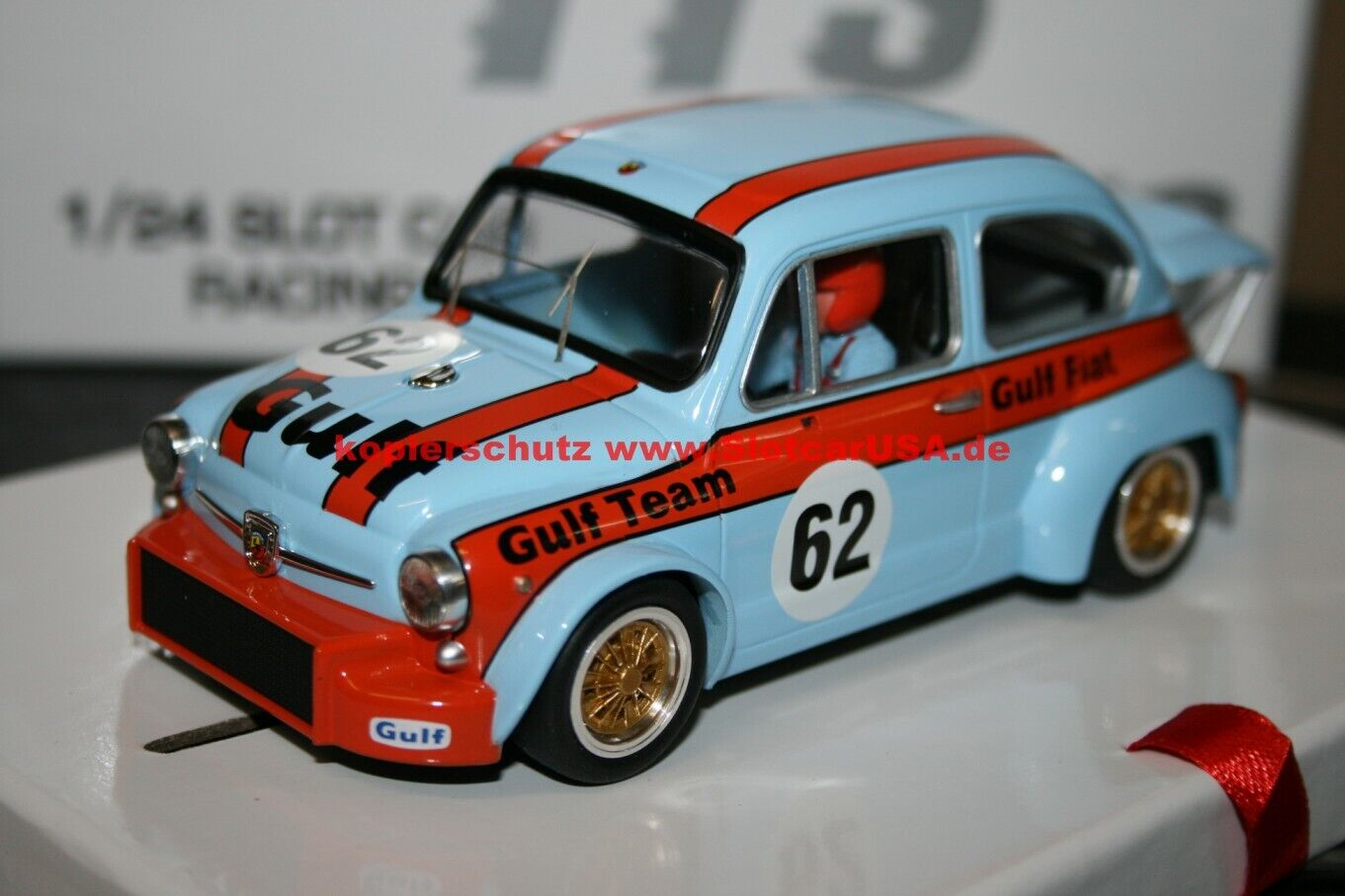 BRM TTS16 Slotcar Fiat Abarth 1000tcr    62 Gulf Campionato Turismo 1973 501b61