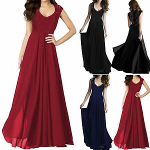 UK-Womens-Chiffon-Maxi-Formal-Party-Lace-Ballgown-Cocktail-Bridesmaid-Long-Dress