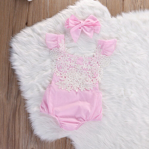 Baby girls pink romper bow suit casual party summer photo shoot 456