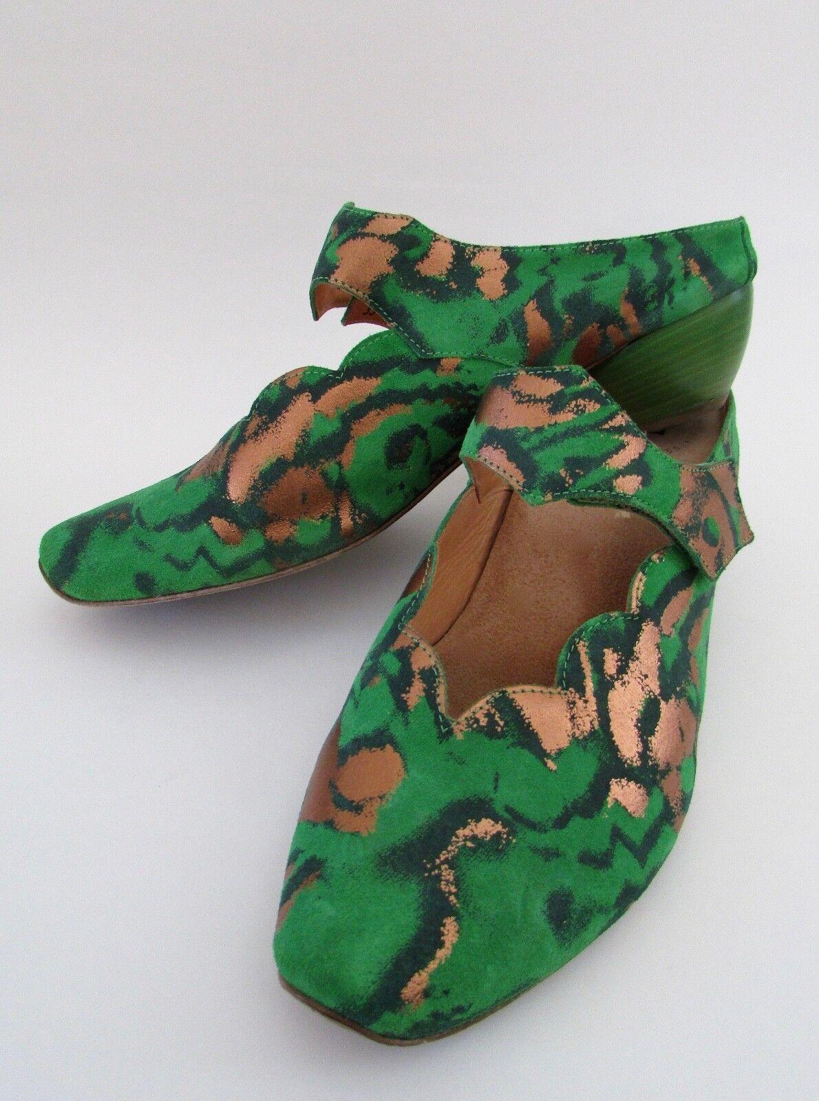Think   Green Suede Copper Metallic Slide Mules Sz 43 10.5