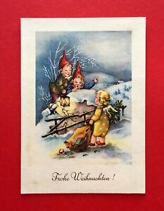 Glueckwunsch-Kuenstler-AK-von-Elfriede-Tuerr-Weihnachten-Engel-Zwerg-Zwerge-55539
