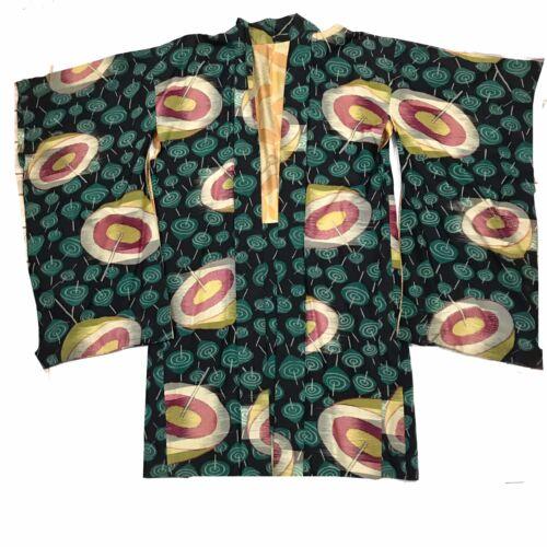 Vintage Pongee Silk Kimono 1920s 1930s Art Deco Pa