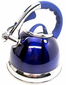 3.5 L Bleu Métallique en Acier Inoxydable Siffler Bouilloire gaz et plaques électriques  </span>