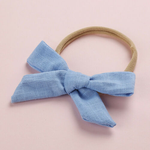 Kids Baby Cotton Linen Nylon Bow Headband Solid Hairband Hair Ring Accessories