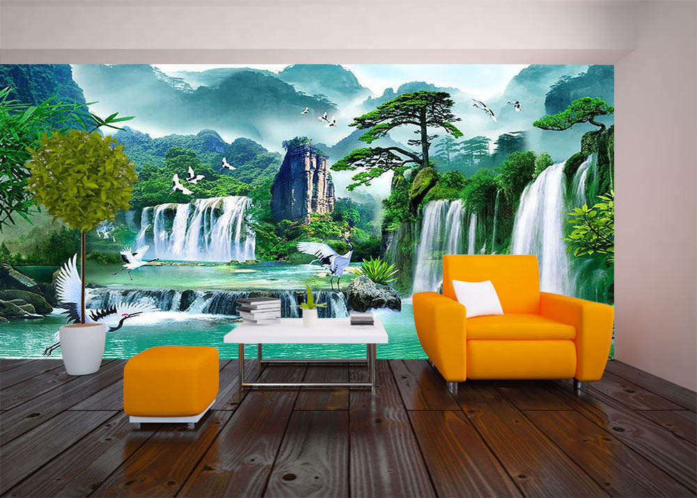 Cranes Paddle Figure 3D Full Wall Mural Photo Wallpaper Printing Home Kids Decor