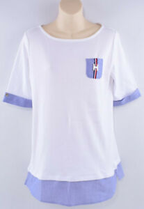 TOMMY-HILFIGER-Women-039-s-Boat-Neck-T-shirt-Top-White-Blue-size-SMALL