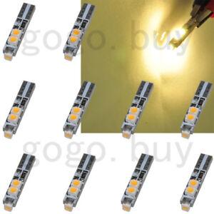 10 x T5 58 70 Warm White Dashboard Gauge 5-3528-SMD LED Light Car Signal Bulbs