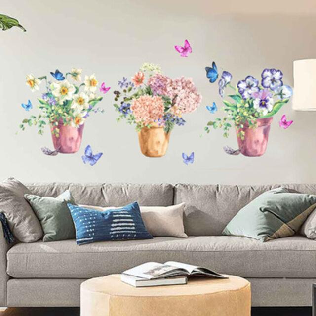 Flower Pot Plant Decal Wall Stickers PVC DIY Living Room Decor Wall Art