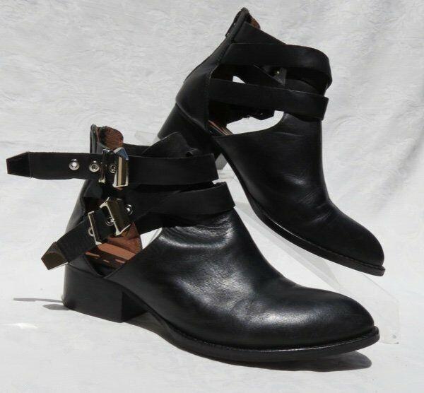 Jeffrey Campbell Everly Schwarzes Leder Gebogen Ausschnitt Knöchel Schuhe US 6.5