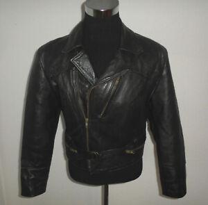 oldschool-70s-Motorradjacke-bikerjacke-vintage-Lederjacke-Motorrad-70er-S-M