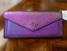 NWT Coach HOLOGRAM Purple Blue Pink Textured Leather Slim Soft Wallet Clutch #02