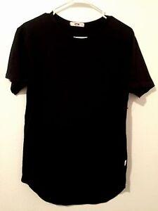 12e177f102bbd Org. EPTM Black Men s Long Line T-Shirt Extended Tee Scallop Scoop ...