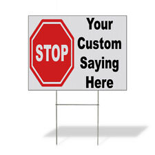 Weatherproof Yard Sign Stop Your Custom Saying Here Business Red Lawn Garden