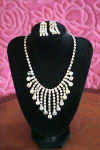 Stunning-VINTAGE-Aurora-Borealis-Diamante-Beaded-Choker-Necklace-With-matching