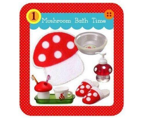 Re-ment Mushroom Paradise Bathroom tooth brush,brush holder,slipper etc