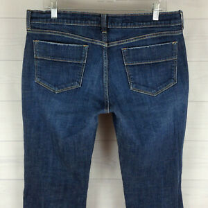 Old-Navy-Sweetheart-womens-size-12-short-stretch-blue-dark-wash-bootcut-jeans