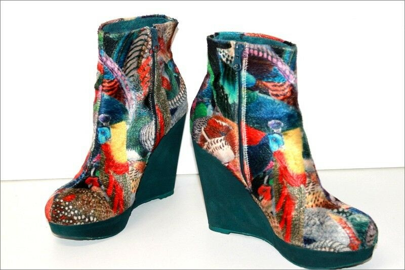 DESIGUAL Wedge Boots Fabric colorful Printed T 39 VERY GOOD CONDITION