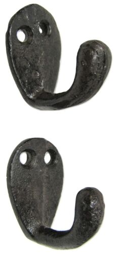 """Lot 2 Antique-Style Very Small 1.5/"""" Cast Iron Cup Robe Coat Hook Hat Jewelry"""