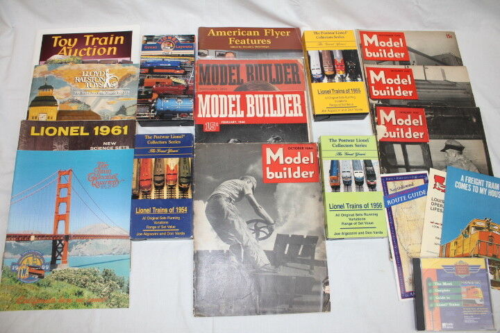 Lot of 21 Pc. Vintage 1940s-90s Train Magazines, VHS Tapes CD-ROM & Pamphlets