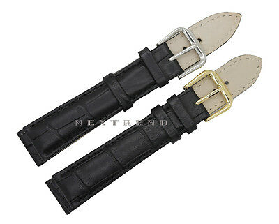 High Quality BLACK Alligator Grain Genuine Leather Watch Band Strap 12mm~24mm