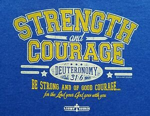 NEW-Strength-Courage-Strong-Lord-Adult-Mens-Christian-Scripture-Medium-T-Shirt
