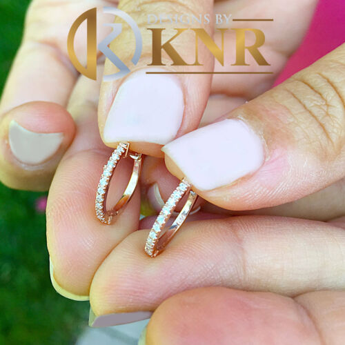 WOMEN/'S 14K ROSE GOLD ROUND CUT DIAMONDS HOOP EARRINGS BRIDAL WEDDING 0.20CTW