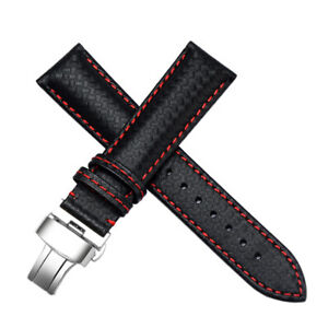 21mm-Carbon-Fiber-Leather-Watch-Bands-Strap-Deployment-Clasp-Made-For-IWC-Pilot