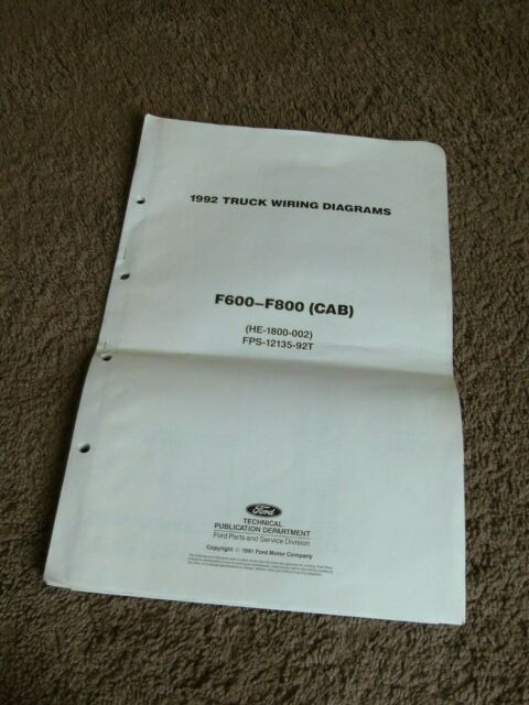 1992 Ford F600 F700 F800 Cab Truck Wiring Diagram Manual Schematic Sheets Dealer